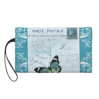 Papillon bleu rose français vintage de timbre de sacs à main avec dragonne