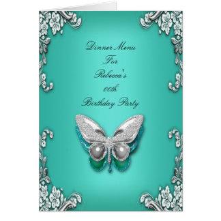 Papillon bleu turquoise d'argent de carte de dîner