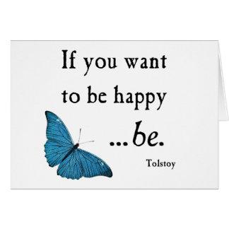 Papillon bleu vintage et citation de bonheur de cartes
