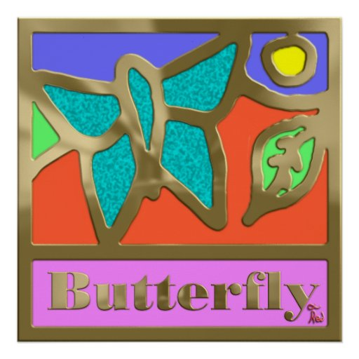 Papillon bordé en bronze brillant posters