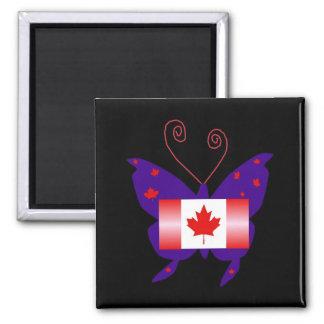 Papillon canadien de diva magnet carré