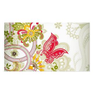 Papillon coloré rouge abstrait de dentelle carte de visite standard