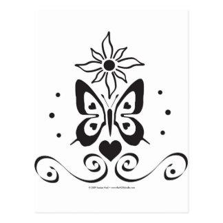 Papillon d'amour au soleil (B et W) Carte Postale