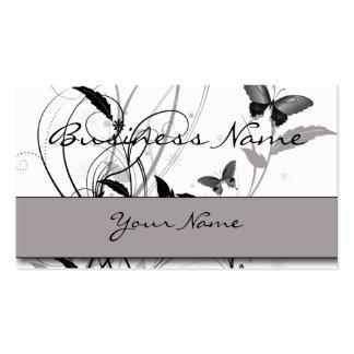 Papillon dans le carte de visite noir et gris