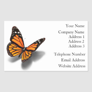 Papillon d'autocollants de carte de visite sticker rectangulaire