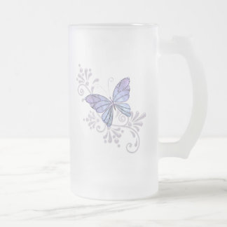 Papillon de bijou frosted glass beer mug