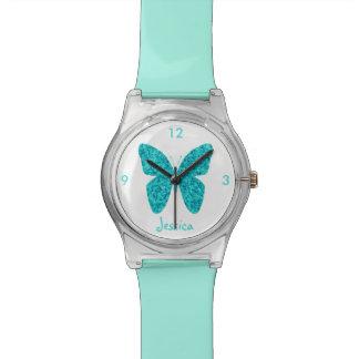 Papillon de bleu de turquoise sur le nom Girly Montres Bracelet