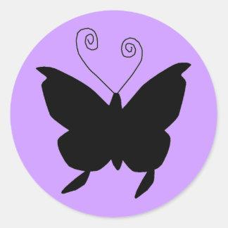 Papillon de diva autocollants ronds