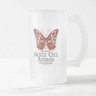 Papillon de drépanocytose frosted glass beer mug