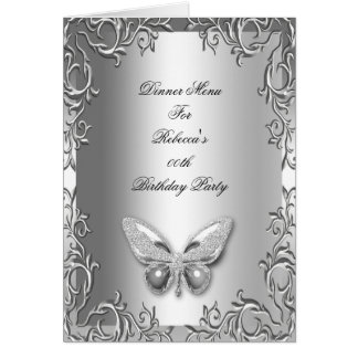 Papillon de gris argenté de carte de dîner de menu