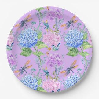 Papillon de lavande et plaque à papier florale de assiettes en papier