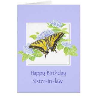 Papillon de machaon sur l'art de fleur d'hortensia carte de vœux