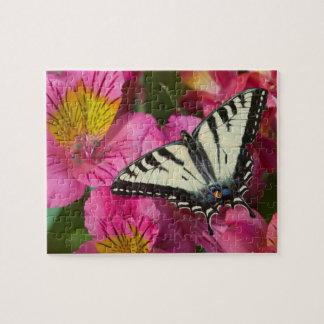 Papillon de machaon sur le rose puzzle