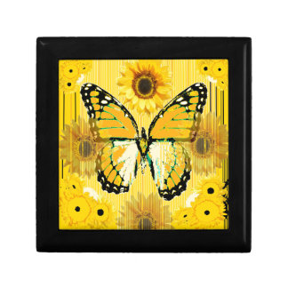 PAPILLON de MONARQUE jaune et ART de tournesol Boîte À Souvenirs