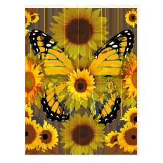PAPILLON de MONARQUE jaune et ART de tournesol Carte Postale