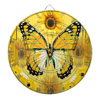 PAPILLON de MONARQUE jaune et ART de tournesol Jeu De Fléchettes