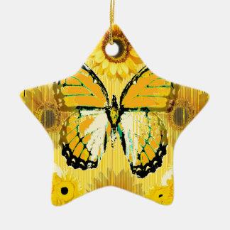 PAPILLON de MONARQUE jaune et ART de tournesol Ornement Étoile En Céramique