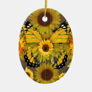 PAPILLON de MONARQUE jaune et ART de tournesol Ornement Ovale En Céramique