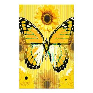 PAPILLON de MONARQUE jaune et ART de tournesol Papier À Lettre Personnalisable