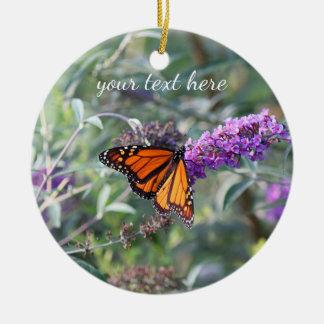 Papillon de monarque ornement rond en céramique