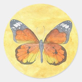 Papillon de monarque sticker rond