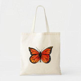 Papillon de monarque sur le sac fourre-tout