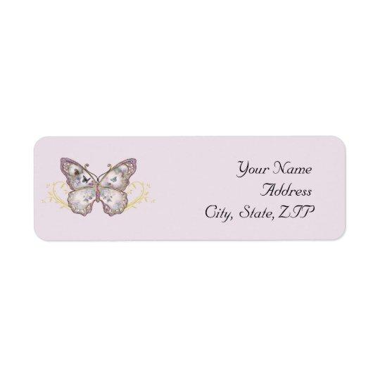 Papillon de parties scintillantes sur la lavande étiquette d'adresse retour