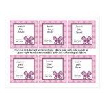 Papillon de prune de sucre de 6 étiquettes de fave carte postale