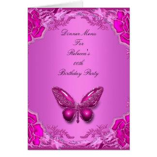 Papillon de rose de carte de dîner de menu floral