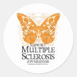 Papillon de sclérose en plaques autocollant rond