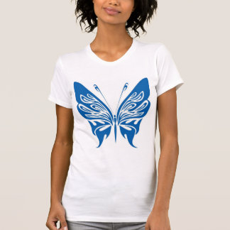 Papillon de tribal, blanc et bleu-foncé t-shirt