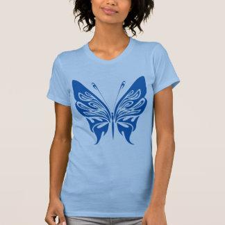 Papillon de tribal, blanc et bleu-foncé t-shirts