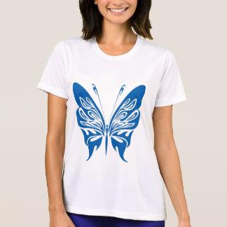 Papillon de tribal blanc et bleu-foncé t-shirts