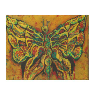 "Papillon d'or 14"""" art en bois du mur x11"