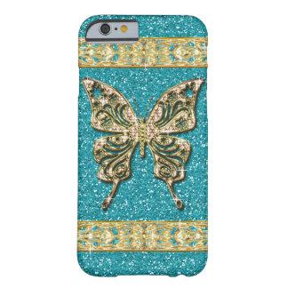 Papillon d'or de scintillement bleu d'Aqua