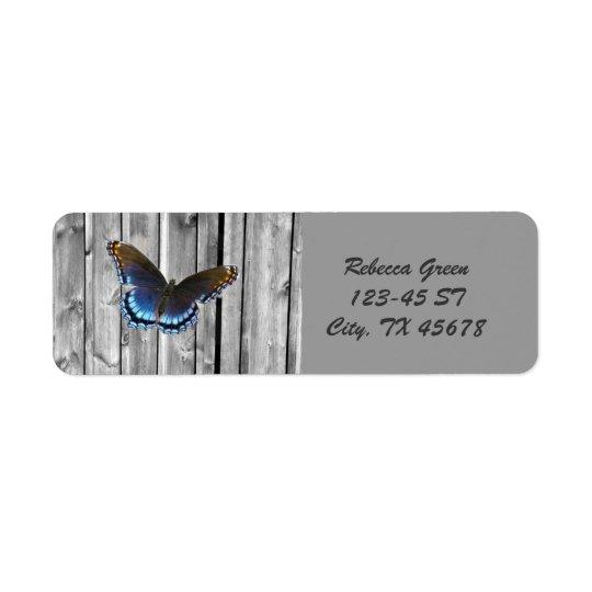 Papillon en bois patiné affligé de bleu de ferme étiquette d'adresse retour