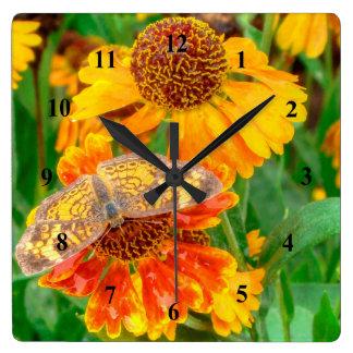 Papillon en croissant de perle sur l'helenium horloge carrée