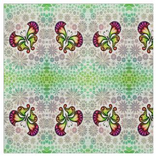 papillon et fleurs tissu