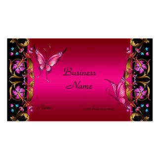 Papillon floral élégant de noir de rose d'or carte de visite standard