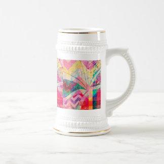 Papillon Girly abstrait génial coloré vibrant ch Chope À Bière