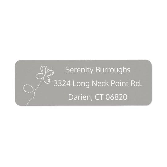 Papillon gris et blanc personnalisé étiquette d'adresse retour