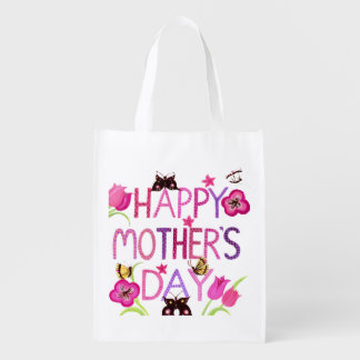 Papillon heureux du jour de mère sacs d'épicerie réutilisables