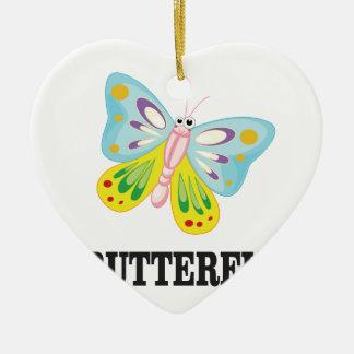 papillon lumineux ornement cœur en céramique