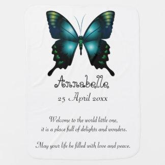 Papillon lunatique élégant d'Aqua Couvertures De Bébé