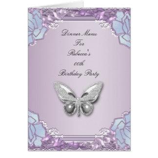 Papillon mauve lilas d'argent de carte de dîner de