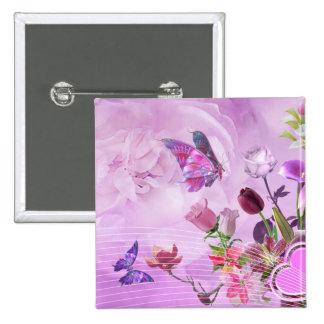 Papillon mignon pourpre rose coloré abstrait badge carré 5 cm
