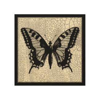 Papillon noir et blanc sur l'arrière - plan criqué impression sur bois