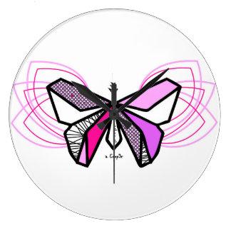 Papillon origami grande horloge ronde