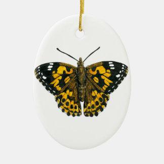 Papillon peint de dame ornement ovale en céramique