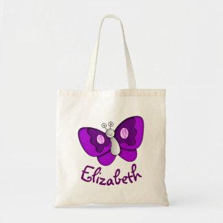 Papillon pourpre nommé fait sur commande sacs